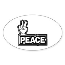 Retro Peace Sign Oval Decal