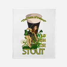 Wild Irish Rose Irish Pinup Stout Throw Blanket