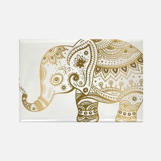 Gold tones cute tribal elephant illustration Magne