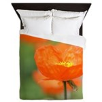 Orange Poppy Flower Queen Duvet