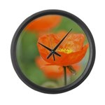 Orange Poppy Flower Large Wall Clock