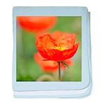 Orange Poppy Flower baby blanket