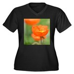 Orange Poppy Flower Women's Plus Size V-Neck Dark