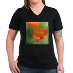 Orange Poppy Flower Women's V-Neck Dark T-Shirt