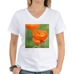 Orange Poppy Flower Women's V-Neck T-Shirt