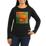 Orange Poppy Flower Women's Long Sleeve Dark T-Shi
