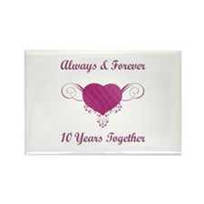 10th Anniversary Heart Rectangle Magnet