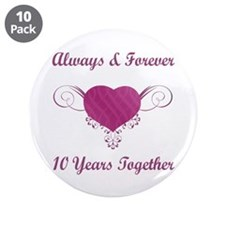 "10th Anniversary Heart 3.5"" Button (10 pack)"