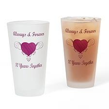 10th Anniversary Heart Drinking Glass