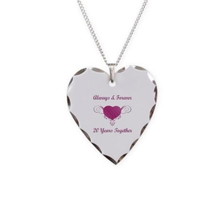 20th Anniversary Heart Necklace Heart Charm