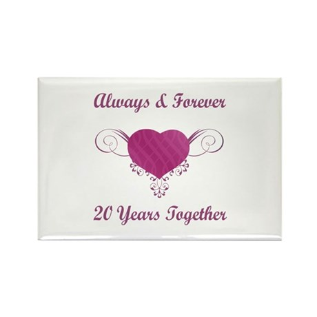 20th Anniversary Heart Rectangle Magnet