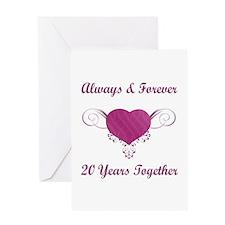 20th Anniversary Heart Greeting Card