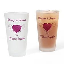 20th Anniversary Heart Drinking Glass
