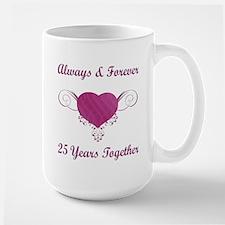 25th Anniversary Heart Large Mug