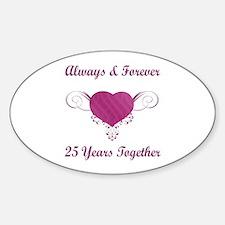 25th Anniversary Heart Sticker (Oval)