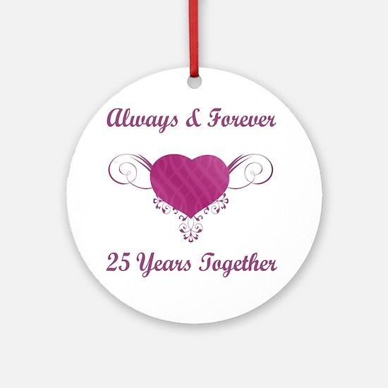 25th Anniversary Heart Ornament (Round)