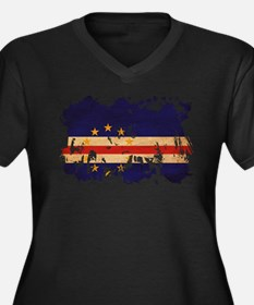 Cape Verde Flag Women's Plus Size V-Neck Dark T-Sh
