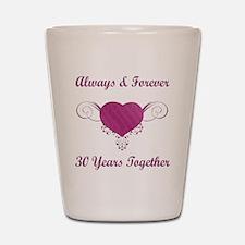 30th Anniversary Heart Shot Glass