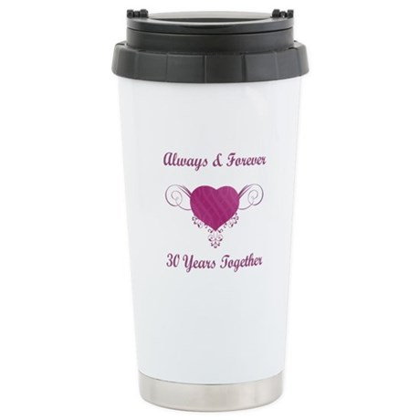 30th Anniversary Heart Stainless Steel Travel Mug