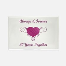 30th Anniversary Heart Rectangle Magnet