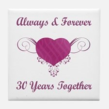 30th Anniversary Heart Tile Coaster