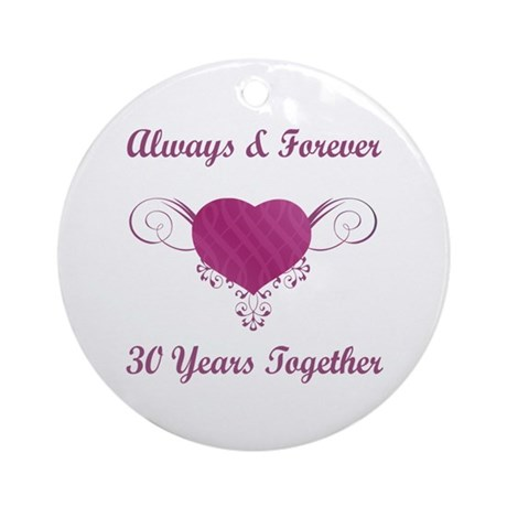 30th Anniversary Heart Ornament (Round)