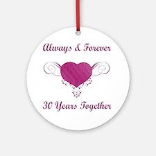 30th Anniversary Heart Ornament (Round)
