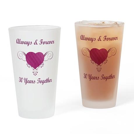 30th Anniversary Heart Drinking Glass