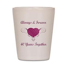 40th Anniversary Heart Shot Glass