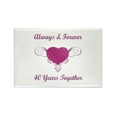 40th Anniversary Heart Rectangle Magnet