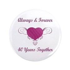 "40th Anniversary Heart 3.5"" Button (100 pack)"