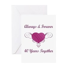 40th Anniversary Heart Greeting Card