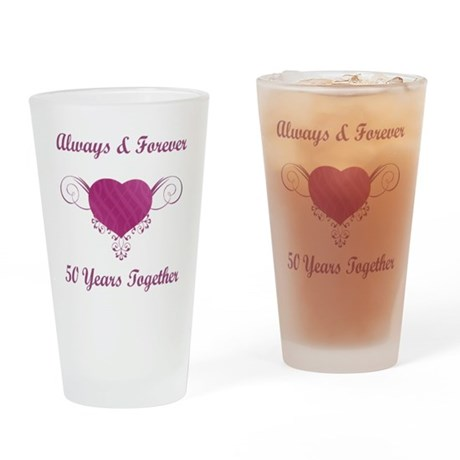 50th Anniversary Heart Drinking Glass