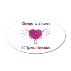 60th Anniversary Heart 38.5 x 24.5 Oval Wall Peel