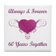 60th Anniversary Heart Tile Coaster