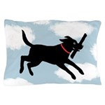 Black Lab Jumping Through a Cloudy Sky Pillow Case