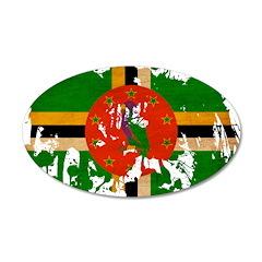 Dominica Flag 38.5 x 24.5 Oval Wall Peel