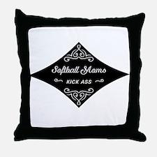 Softball Moms Kick Ass Throw Pillow