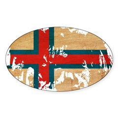 Faroe Islands Flag Sticker (Oval)