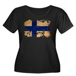 Finland Flag Women's Plus Size Scoop Neck Dark T-S