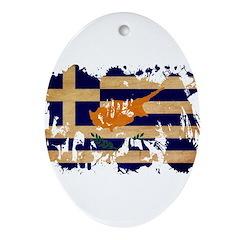 Greek Cyprus Flag Ornament (Oval)