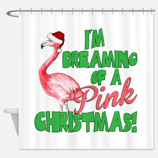 Pink Christmas Shower Curtain