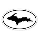 Upper Peninsula Oval Sticker (B&W)