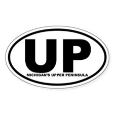 Michigan's UP Oval Sticker (B&W)