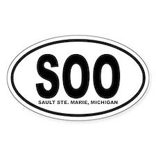 Sault Ste. Marie Oval Sticker (B&W)