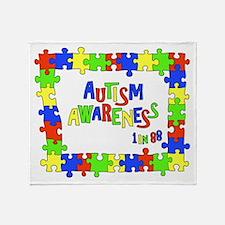 Puzzle Frame Autism Aware Throw Blanket