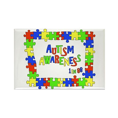 Puzzle Frame Autism Aware Rectangle Magnet (10 pac