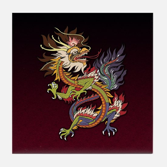 Colorful Chinese Dragon Tile Coaster