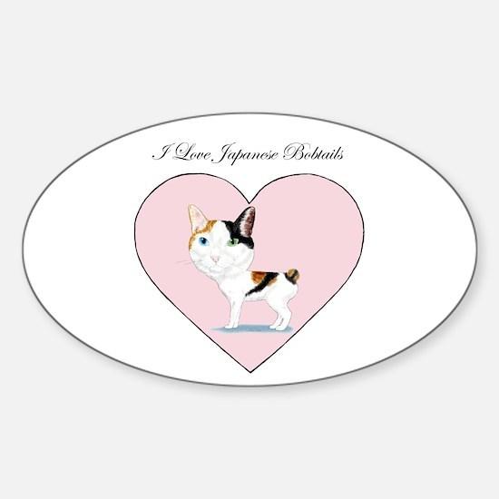 I Love Japanese Bobtails Sticker (Oval)