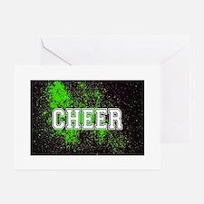 Green Allstar Cheerleader Greeting Cards